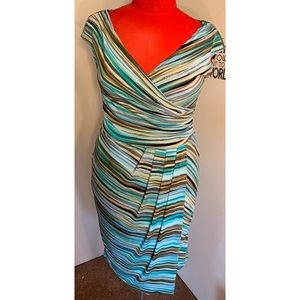 London Times Teal Draped Dress w/ Side Slit